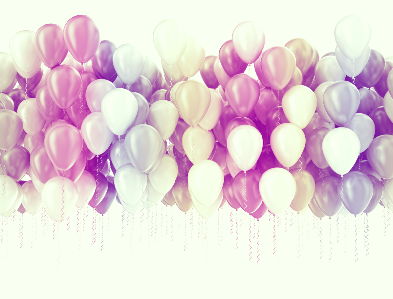 Multi color pastel color party balloons isolated on white